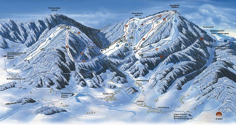 Kaart van het Skigebied Hochficht