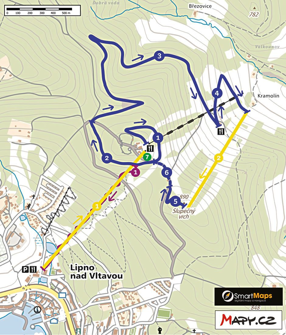 Flow trail Lipno map
