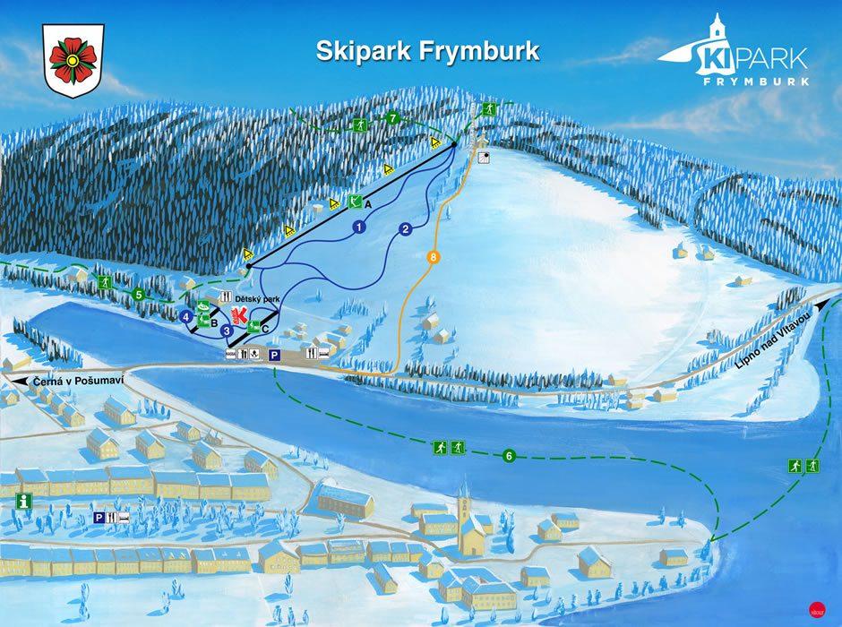 Kaart van het Skipark Frymburk