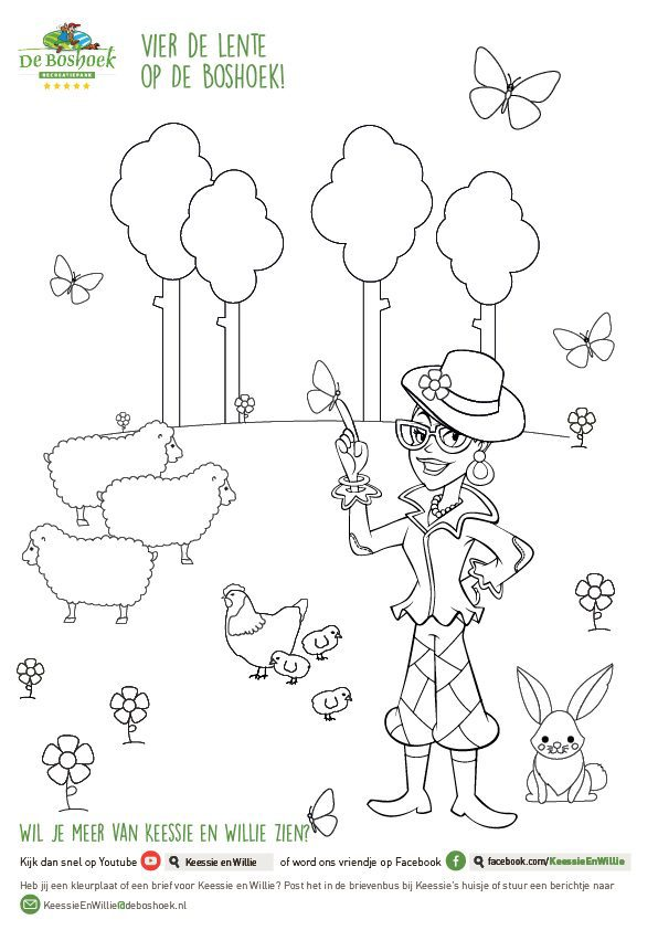 Spring coloring picture Keessie and Willie of Recreation Park De Boshoek