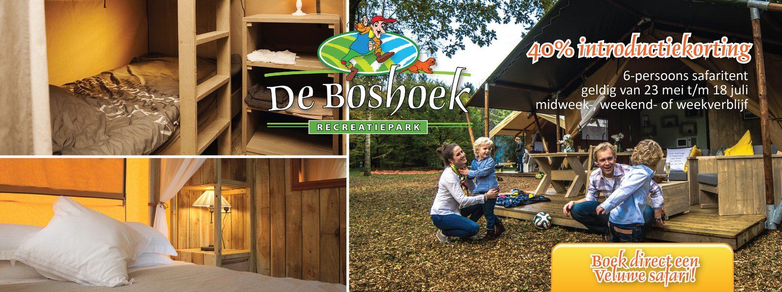 Introductiekorting op Safaritent verblijf op de Veluwe bij Recreatiepark De Boshoek