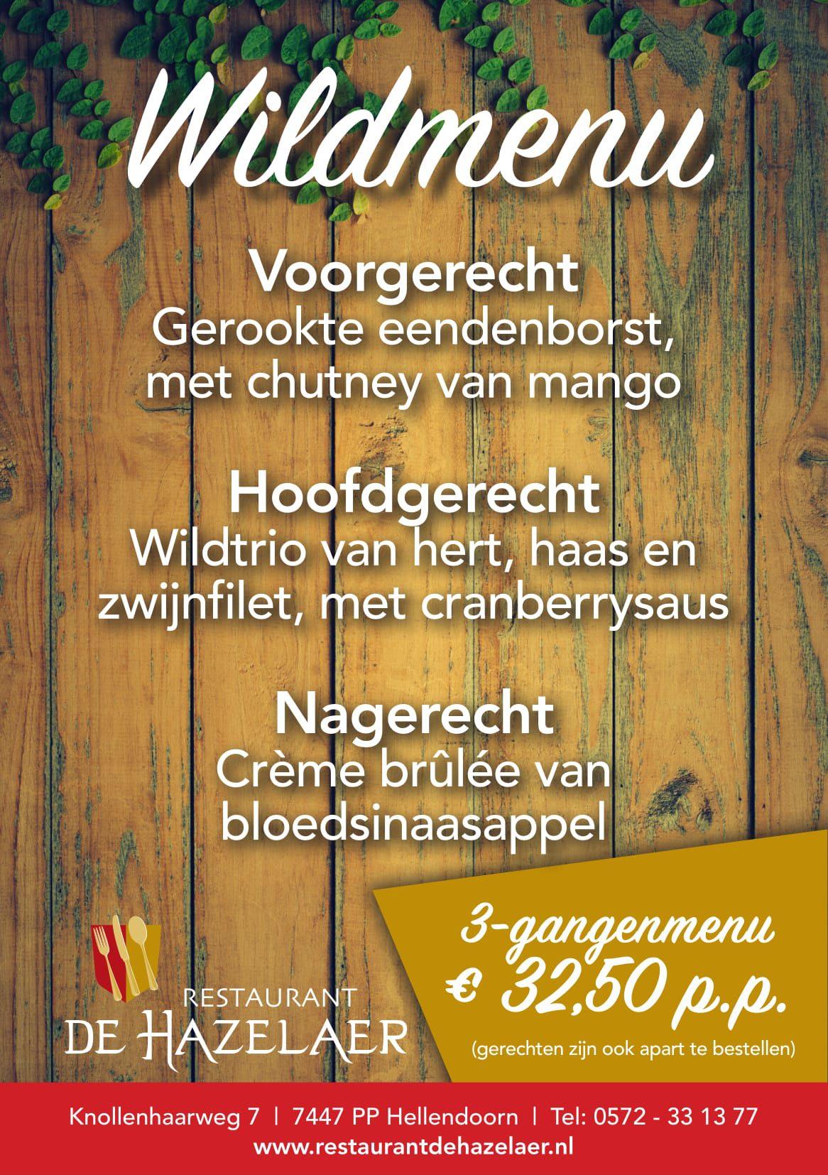Wildmenu bij restaurant De Hazelaer