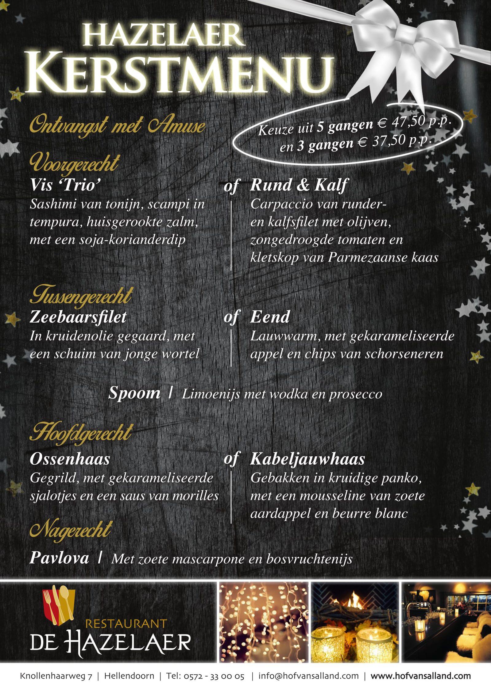 Kerstmenu bij restaurant De Hazelaer
