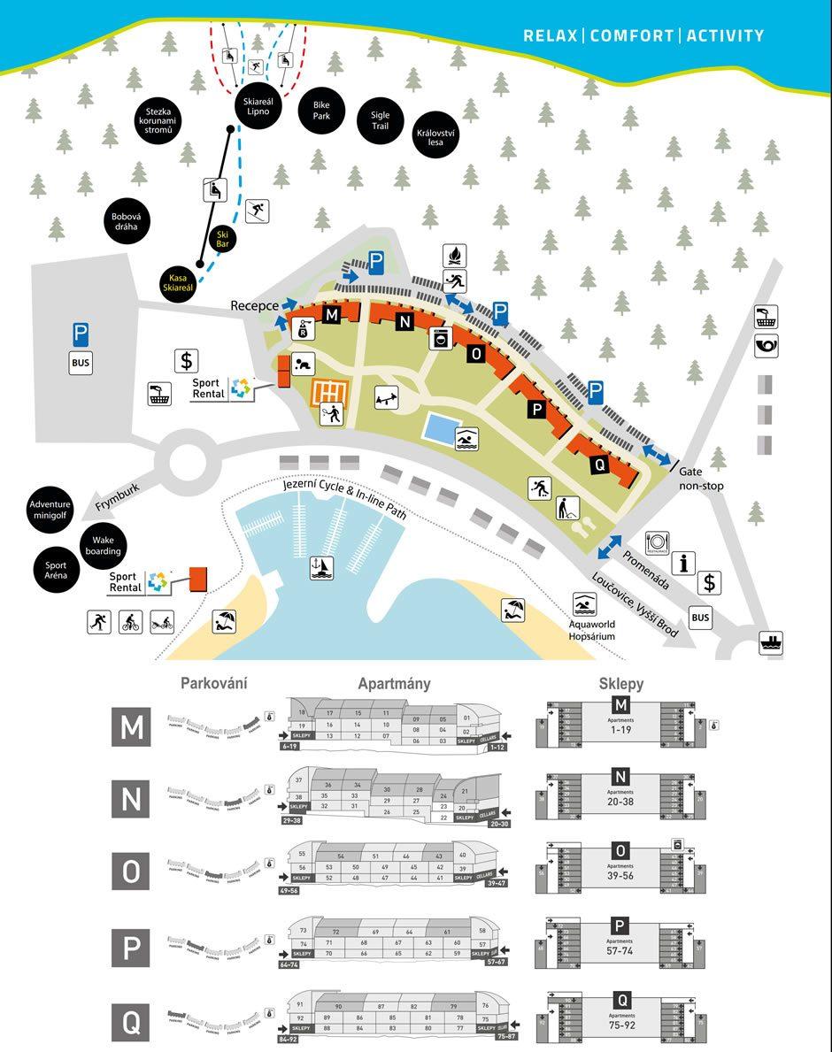Mapa Lipno Lake Resortu