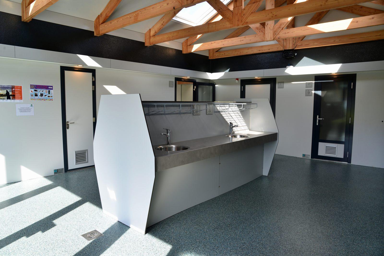 Inside new toilet building