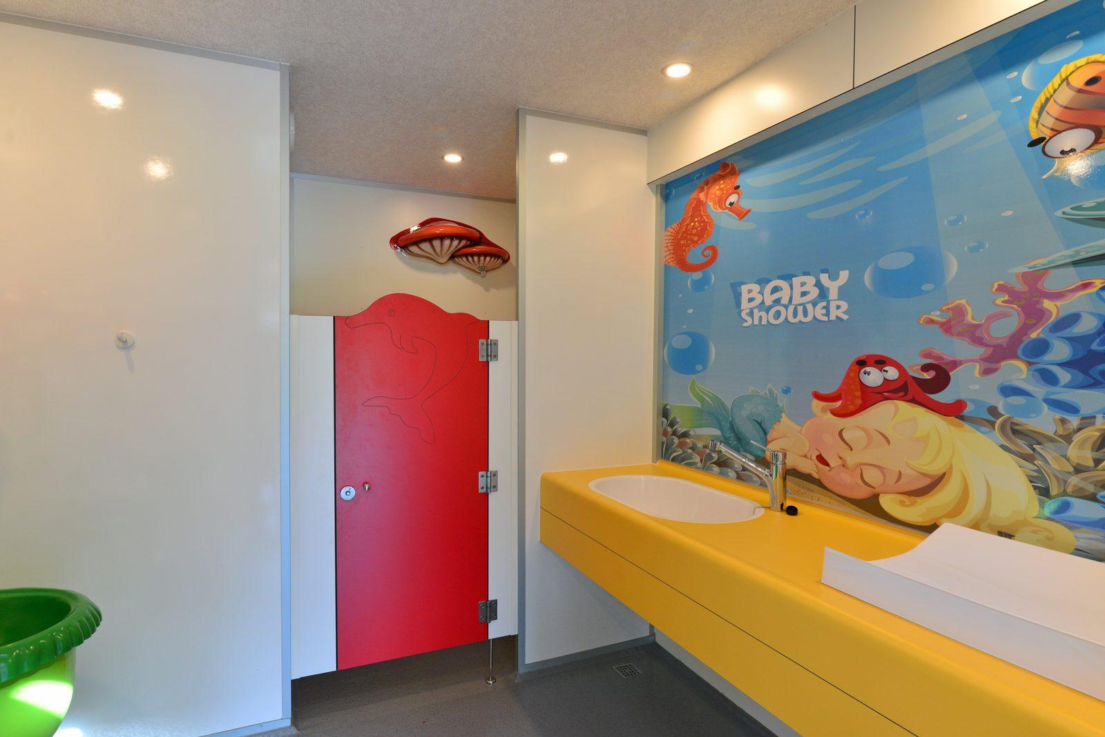 Child shower toilet building