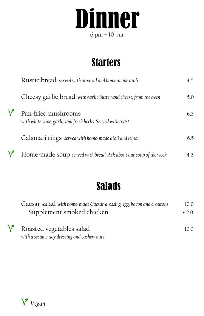 menukaart Diner
