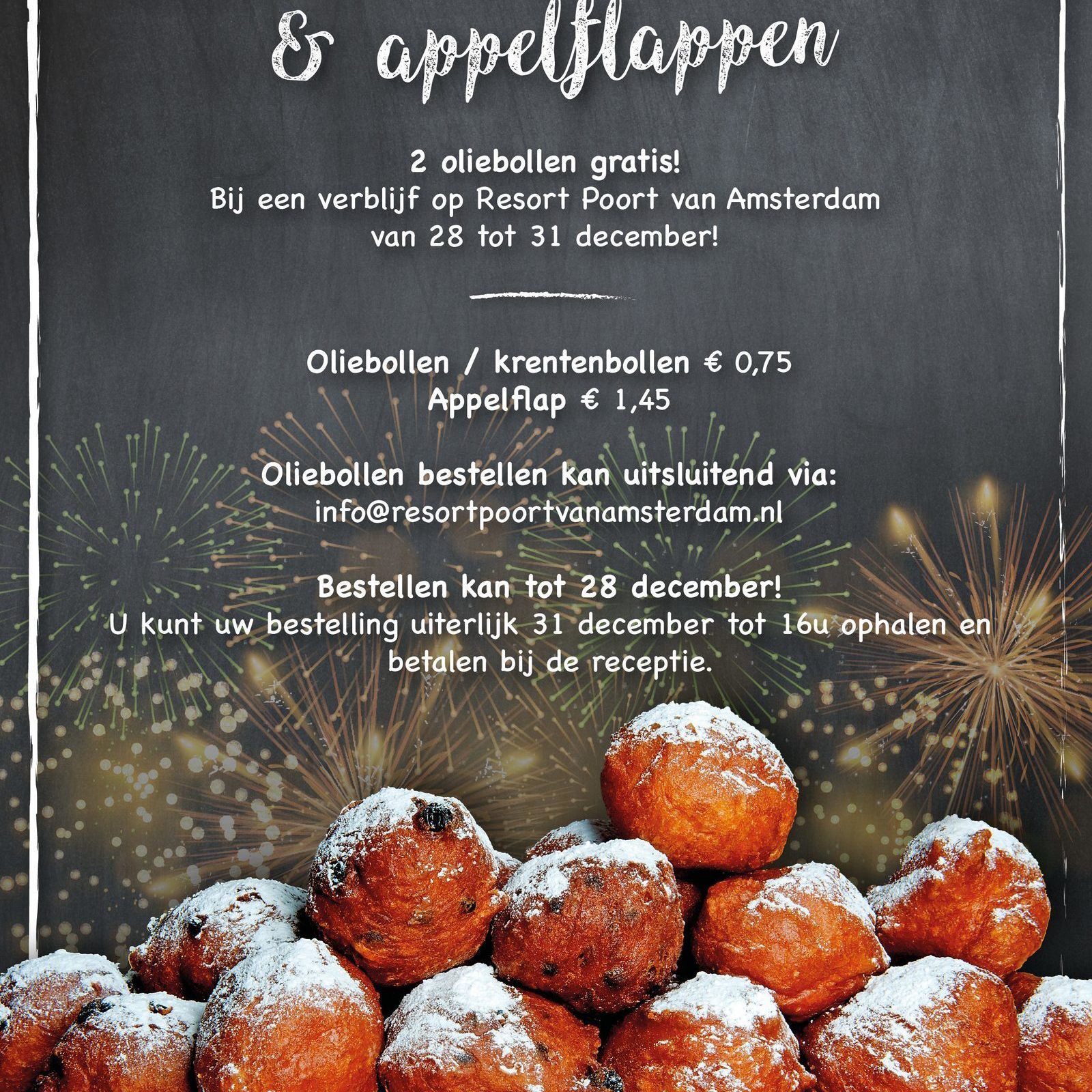 Oliebollen, currant buns and appelflappen for sale!