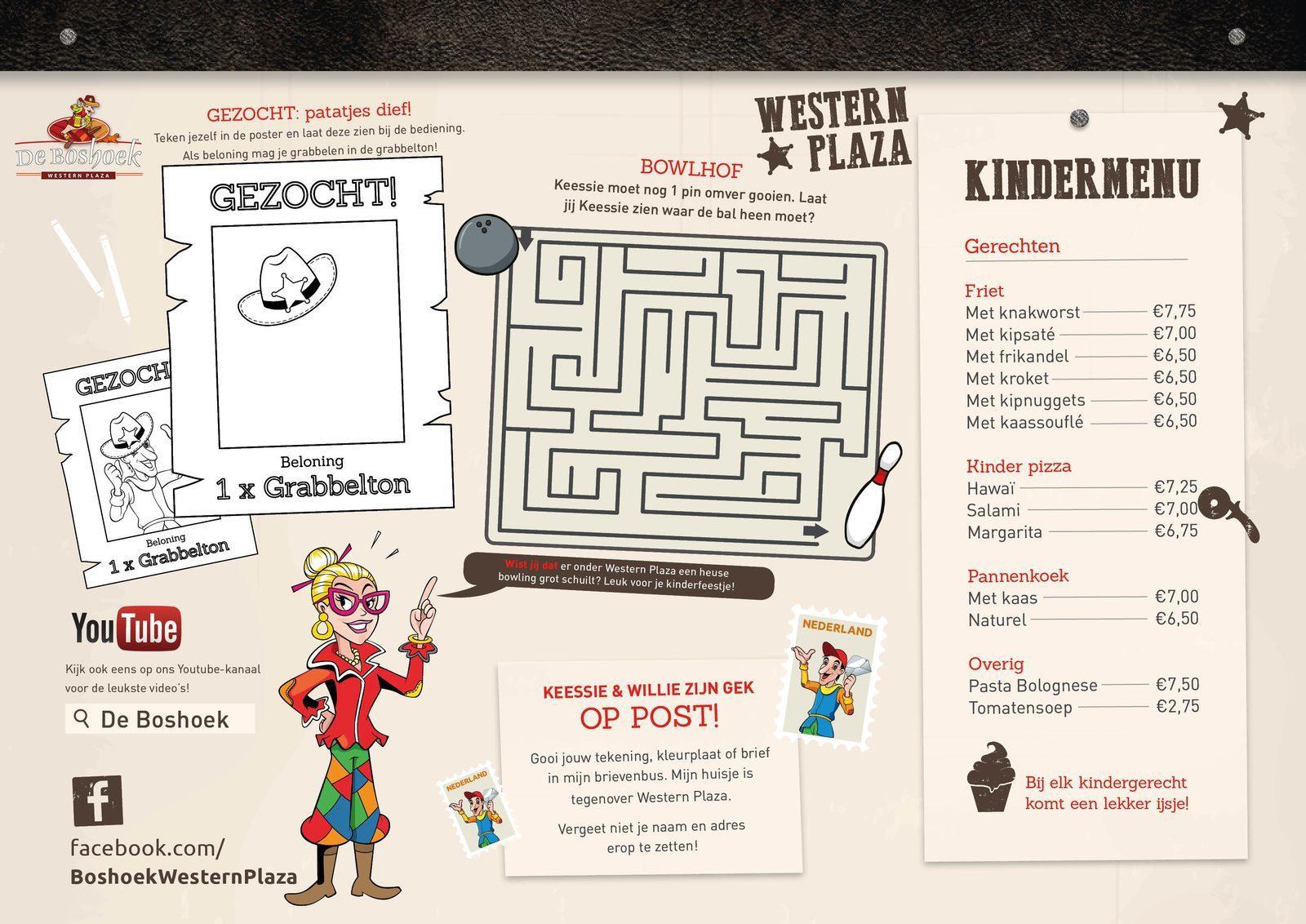 Kinder menukaart Western Plaza op Recreatiepark De Boshoek