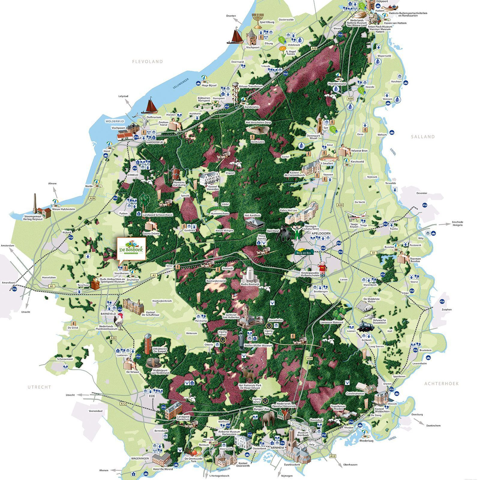 Map of activities and attractions in the area of De Boshoek in Voorthuizen
