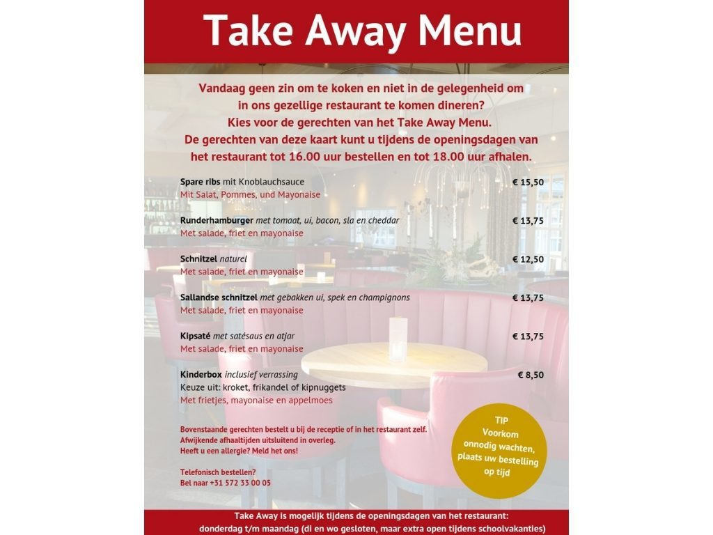 Take Away Menu van restaurant De Hazelaer