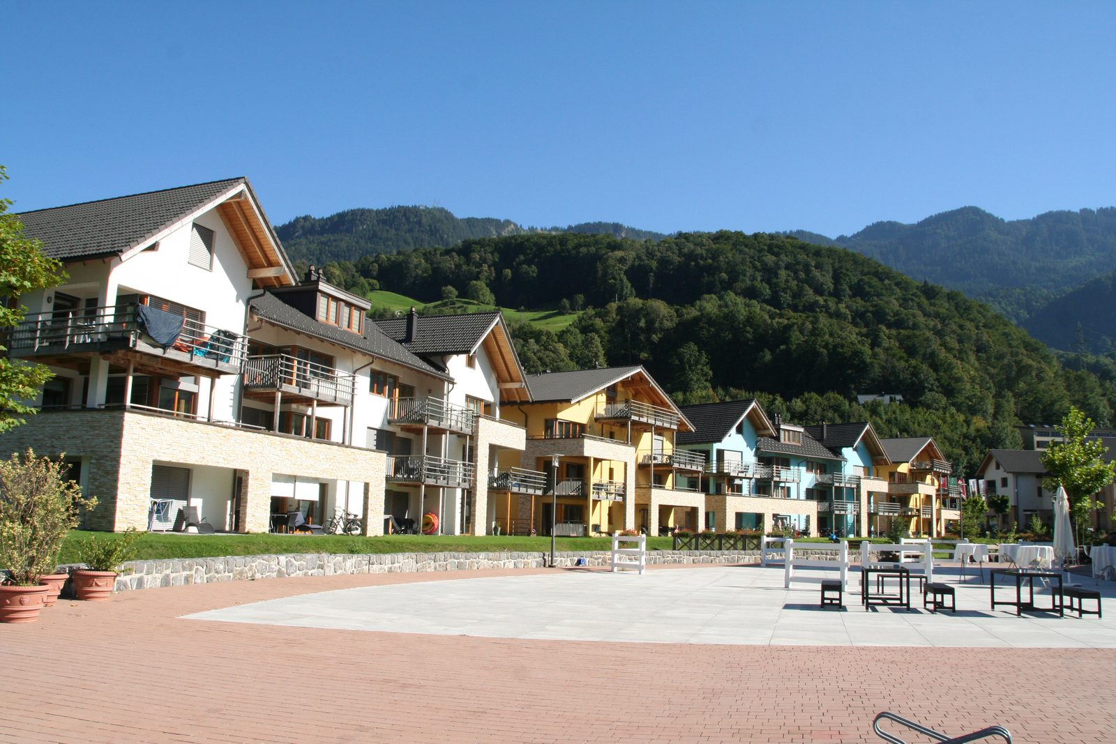 Apartments at the village square of Resort Walensee in Heidiland Flumserberg Switzerland during spring break