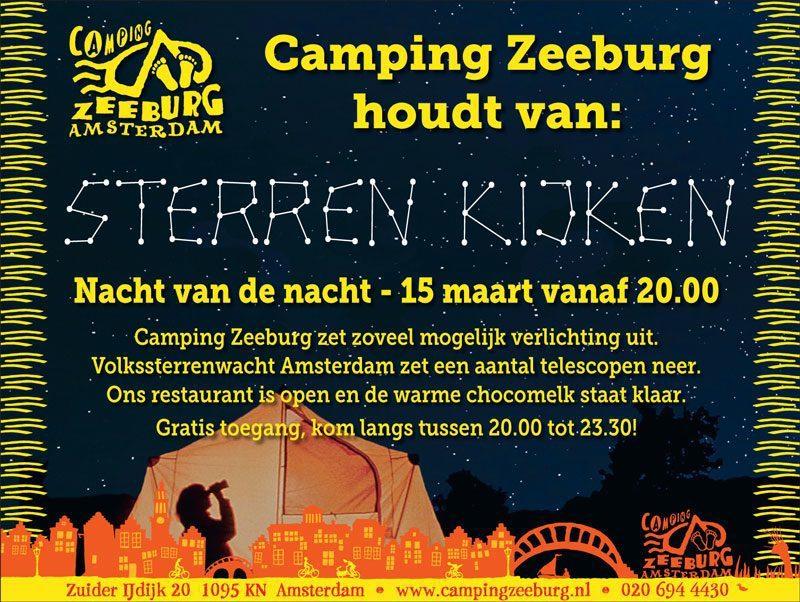 Stargazing at campsite Zeeburg