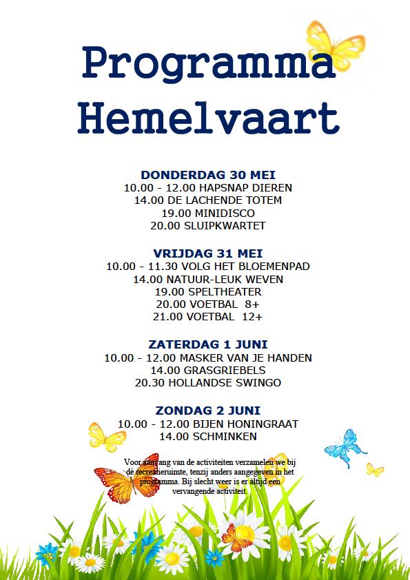 Programma Hemelvaart 2019