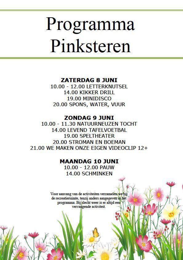 Programma Pinksteren 2019