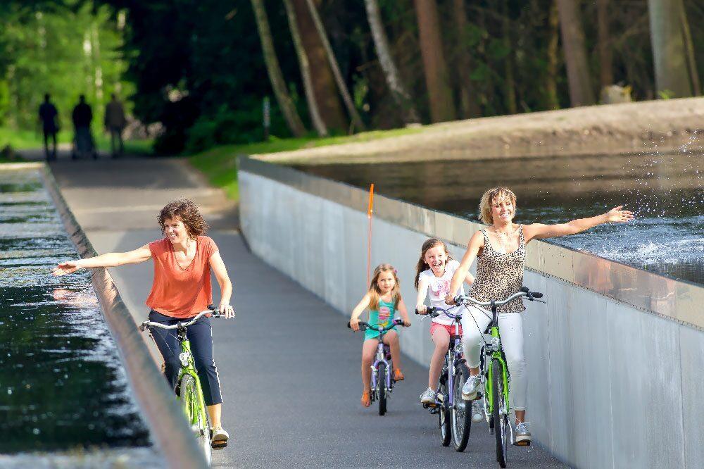 Biking through the water of Limburg