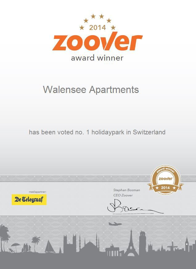 Walensee Apartments wint Zoover Award 2014 voor Resort Walensee