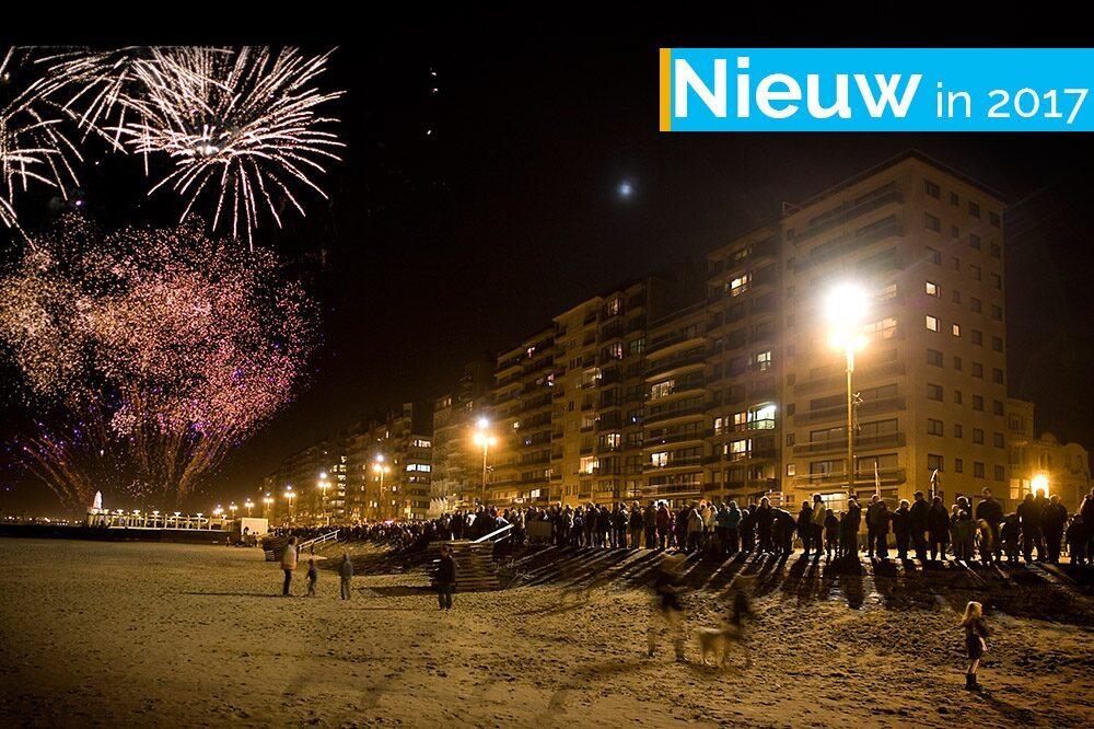Vuurwerk op strand