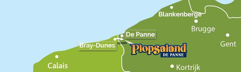 Bray-Dunes et Plopsaland map