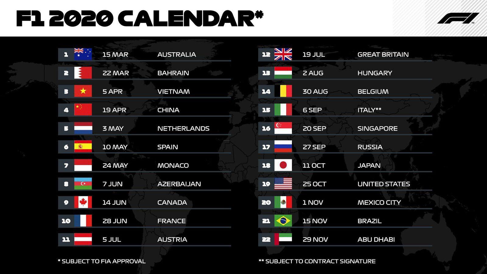 F1 Calendar 2020