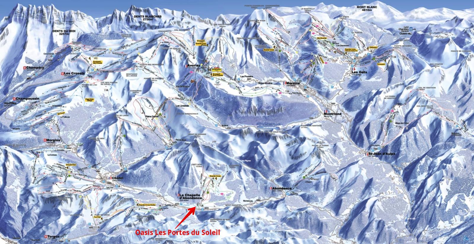 Carte du domaine skiable des Portes du Soleil