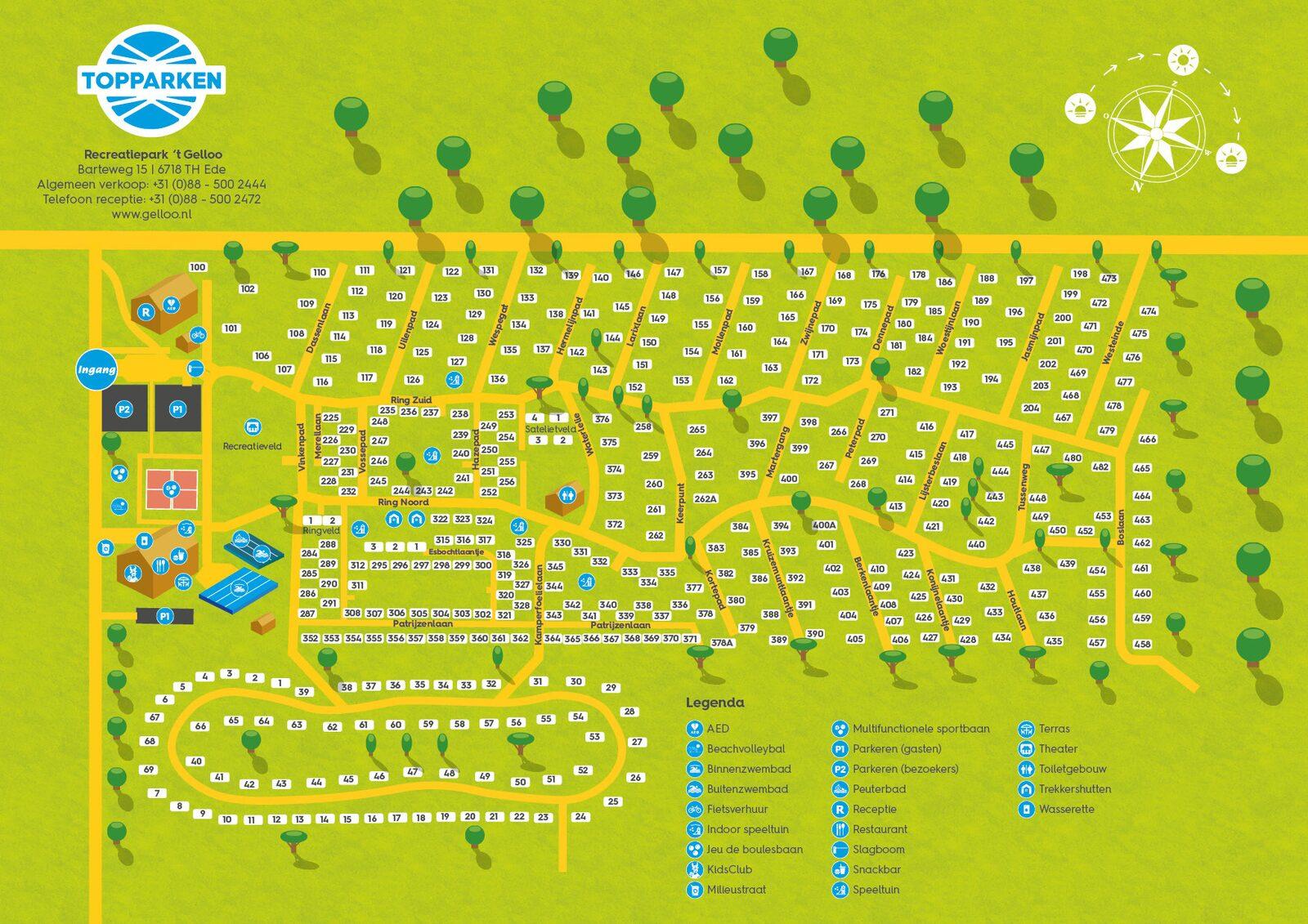 Parkplattegrond Recreatiepark 't Gelloo