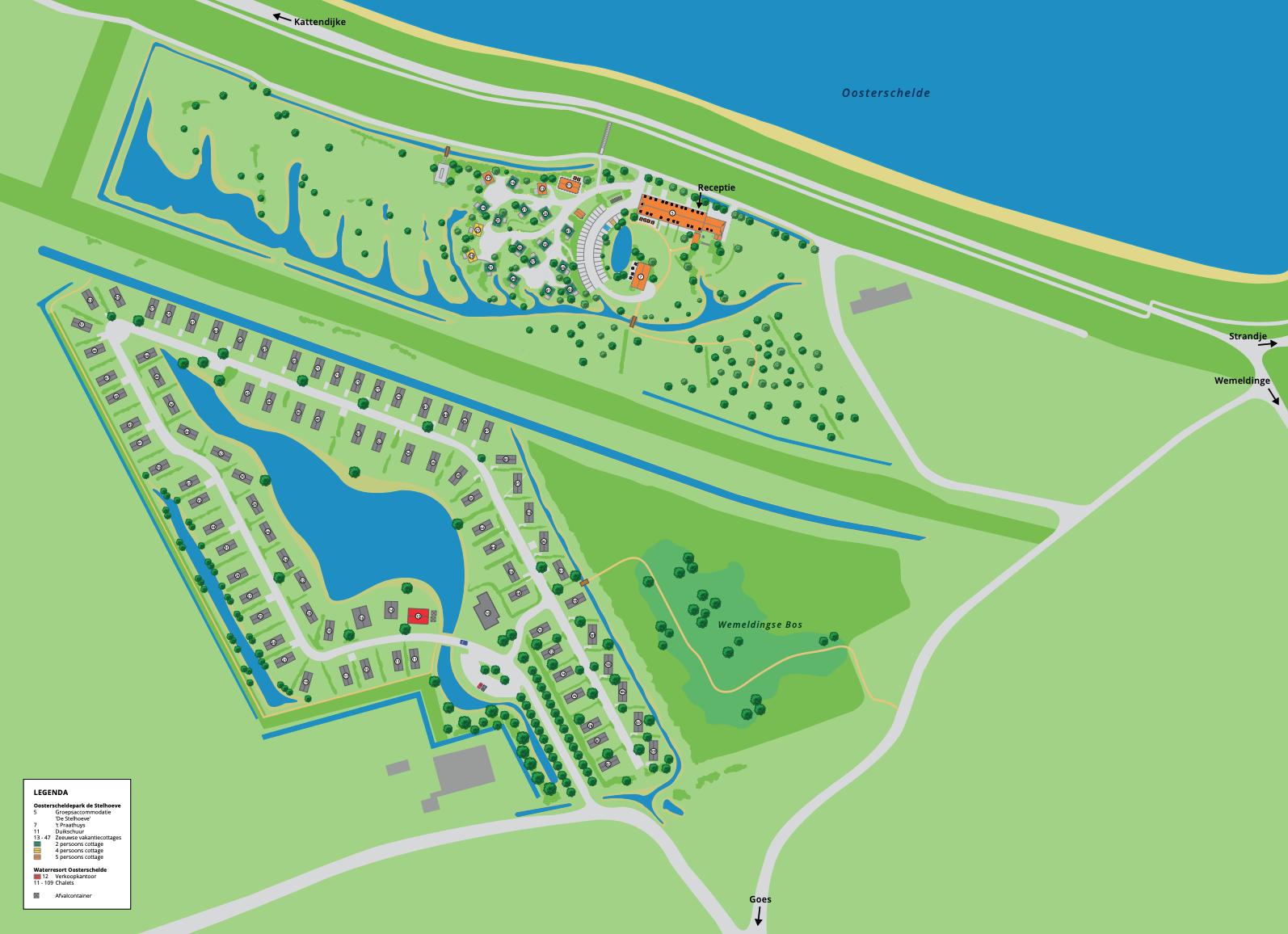 Plattegrond Water Resort Oosterschelde