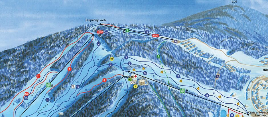 Ski area Lipno map