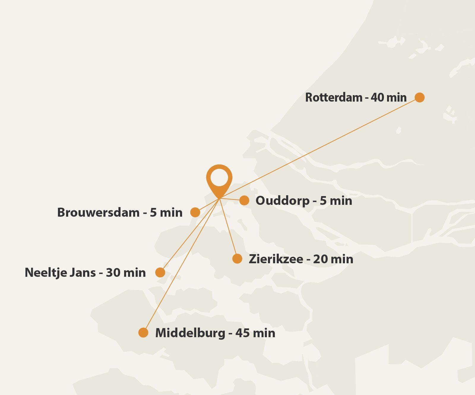 Karte mit Wegstrecken