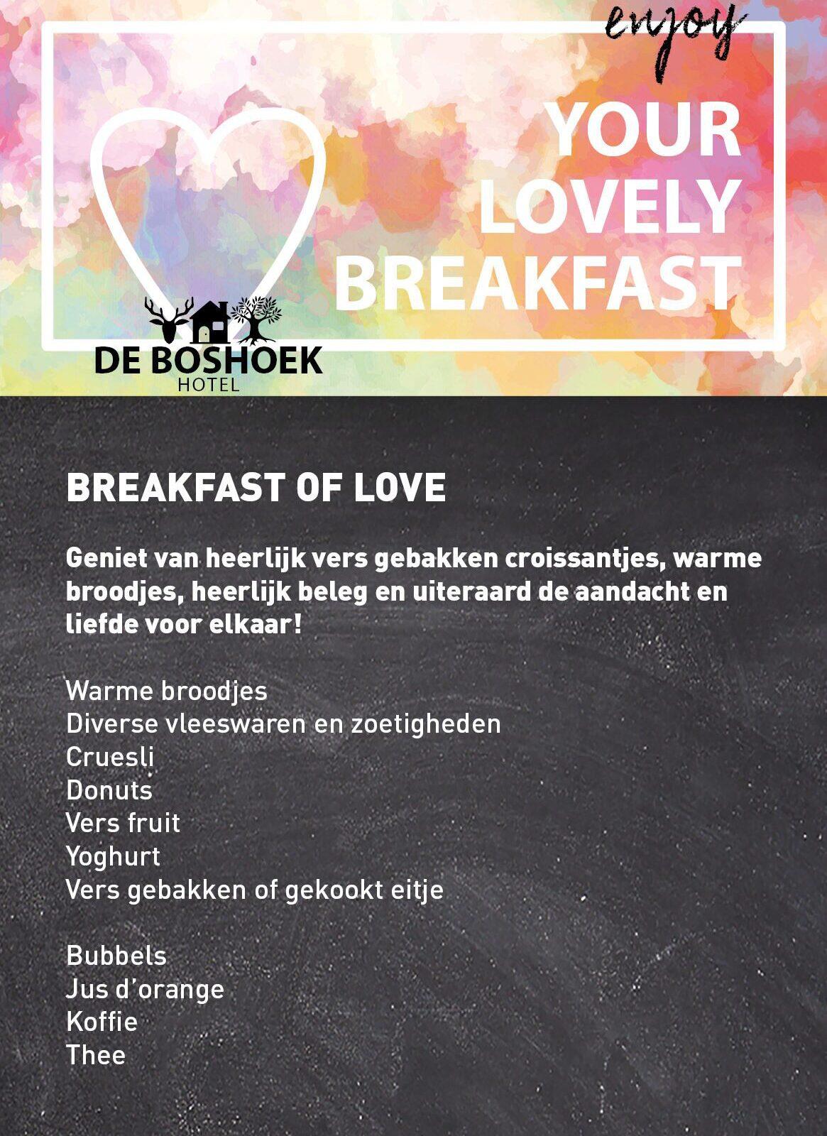 Menukaart Valentijnsdag Hotel De Boshoek