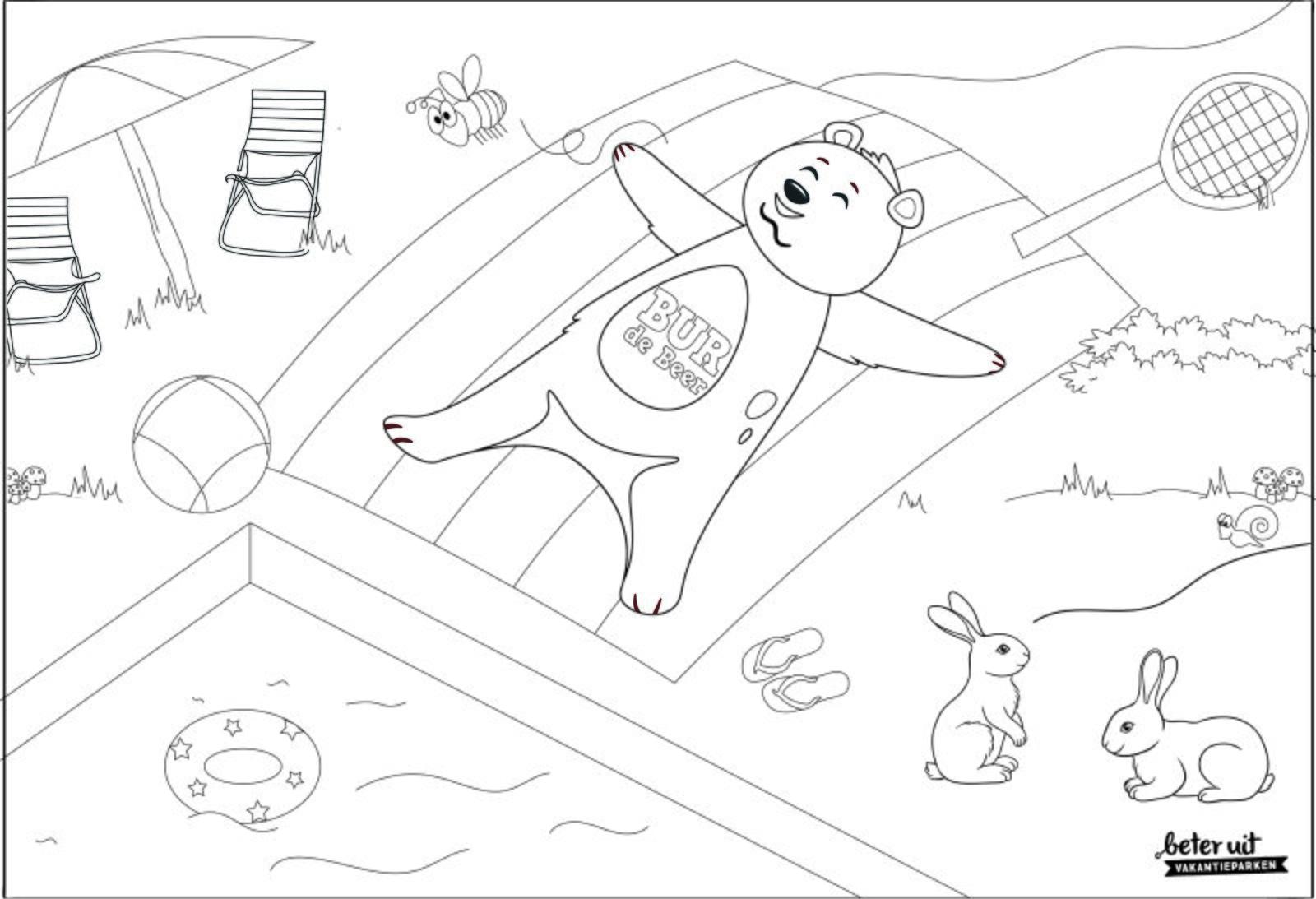 BUR de Beer kleurplaat beer ligt op handdoek aan het zwembad