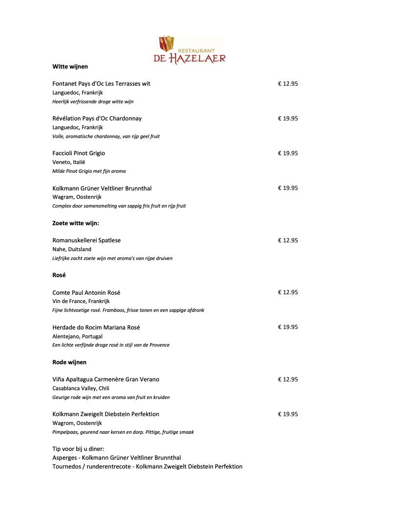 Weinkarte De Hazelaer