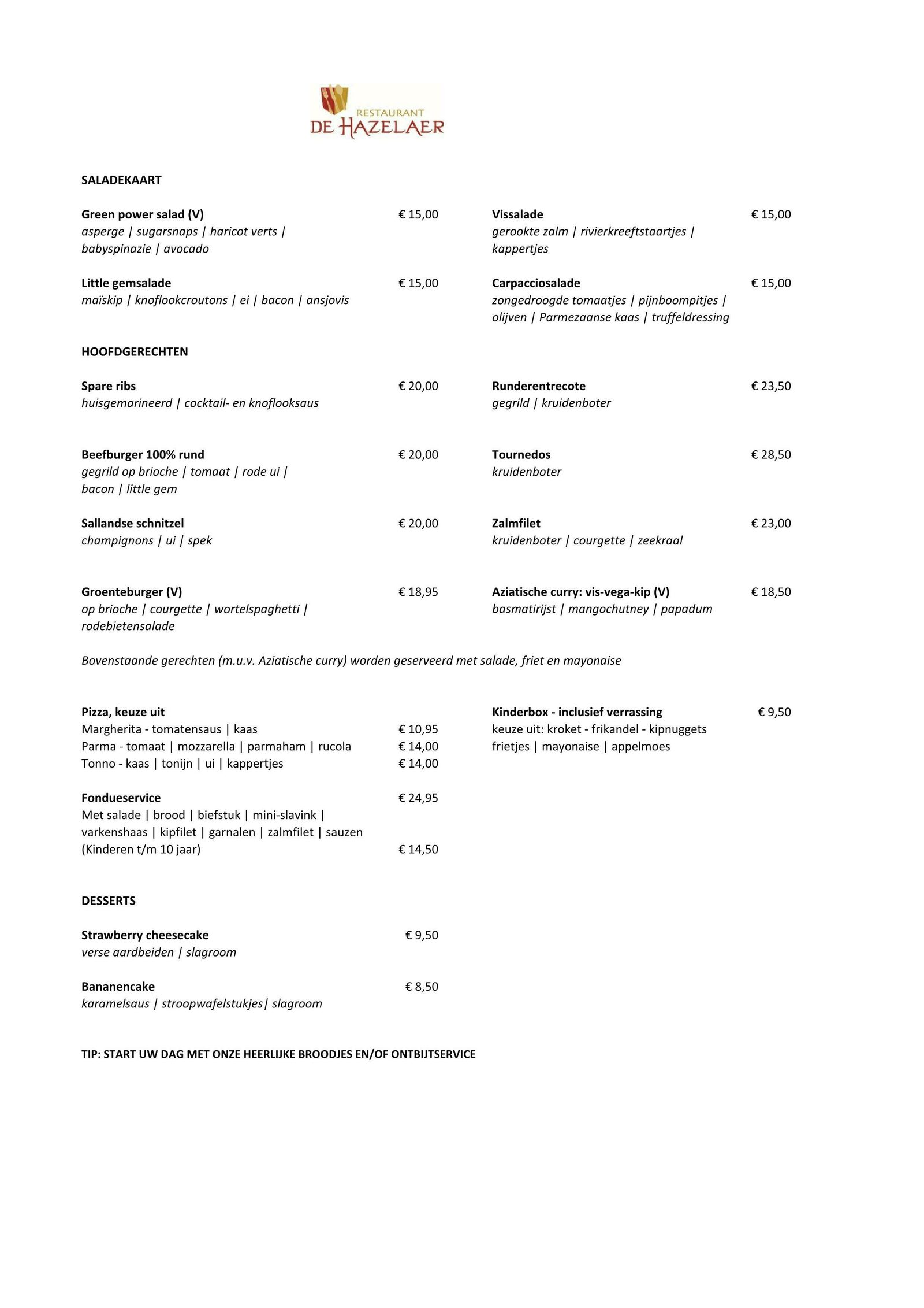 Broodjes en Take Away Menu van restaurant De Hazelaer